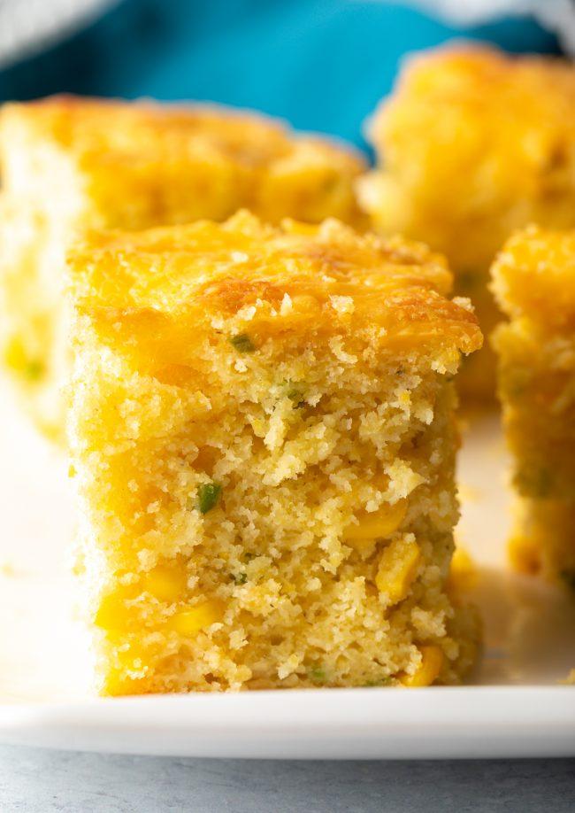 fluffy jalapeno cheddar cornbread close up slice