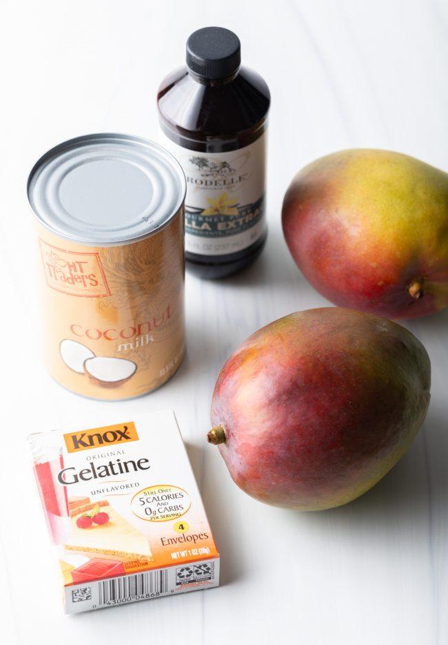 fruit, gelatin, coconut milk, vanilla ingredients