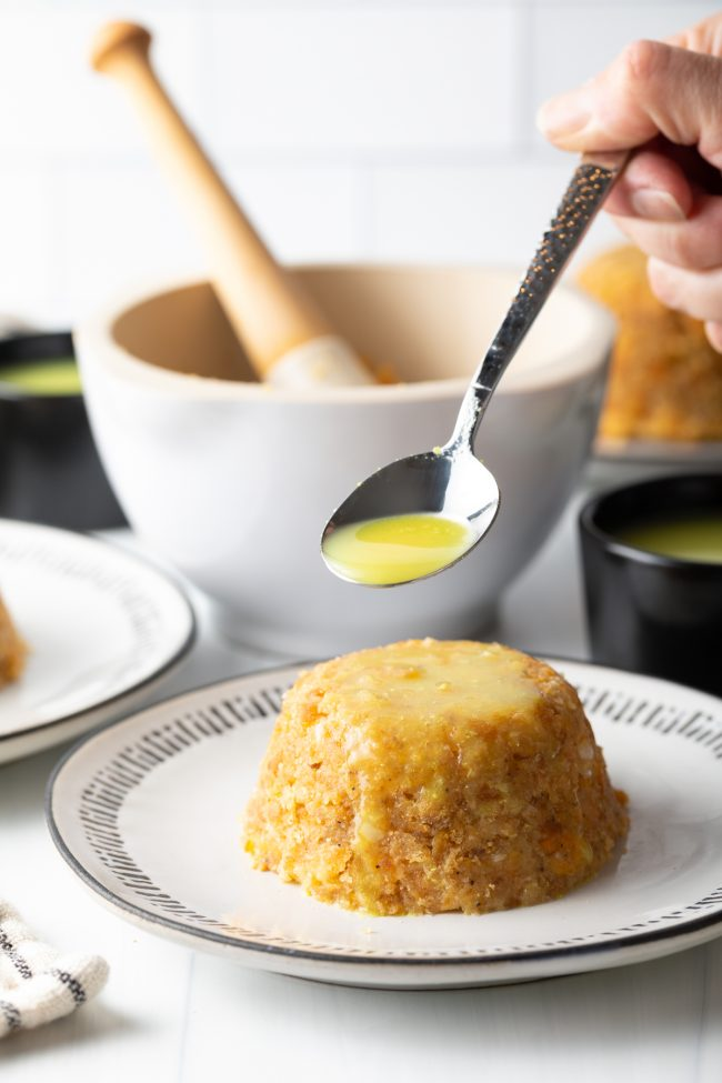 Mofongo Puerto Rice style dish with sauce spooned on top