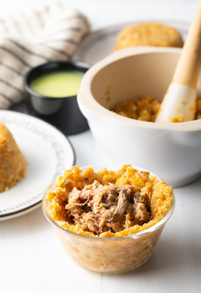 stuffed plantains mixture with shredded beef
