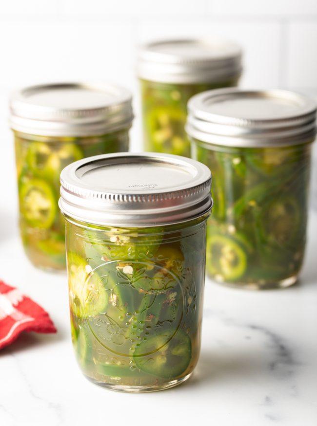 pickled jalapenos in sealed jars