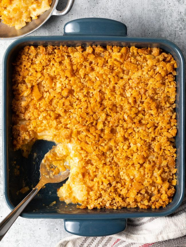 overhead view of pineapple and cheese casserole