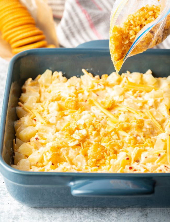 pineapple casserole with cheese and crushed crackers