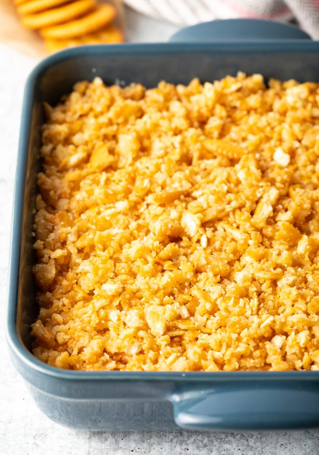 baked casserole with crushed crackers on top