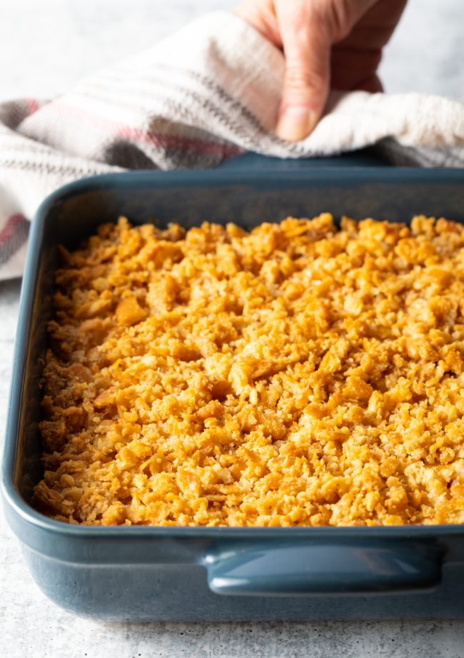 baked dish with golden brown crushed crackers on top