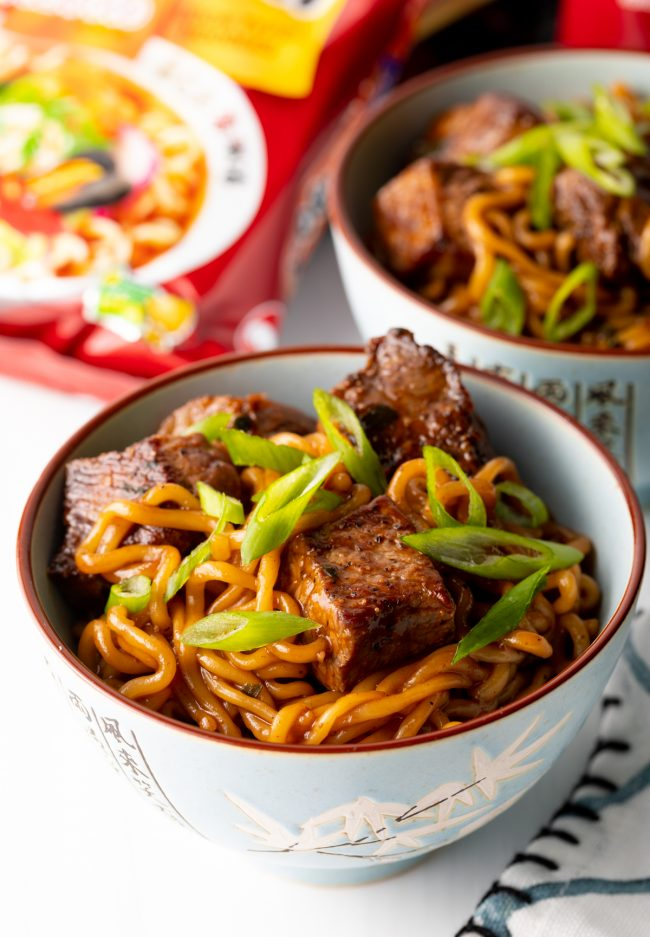 bowl of ram don Korean spicy noodles with steak