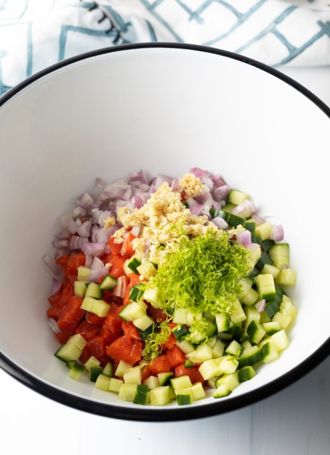 mixing bowl with chopped ingredients