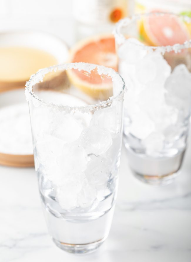 glasses with ice and salt on the rim
