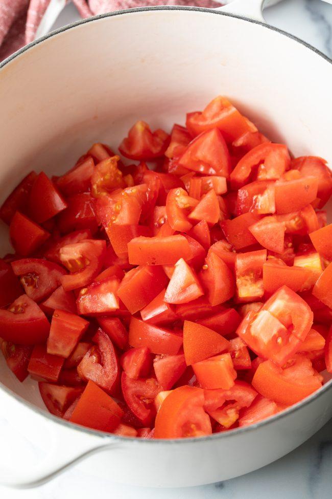 chopped veggies in a pot