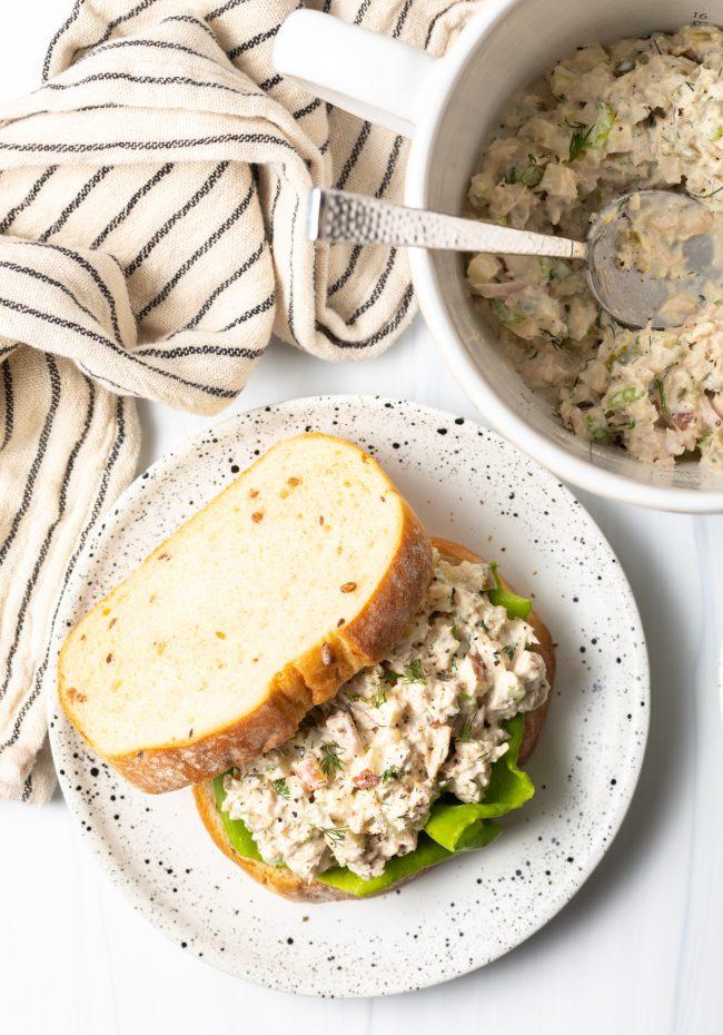 classic tuna salad sandwich overhead view