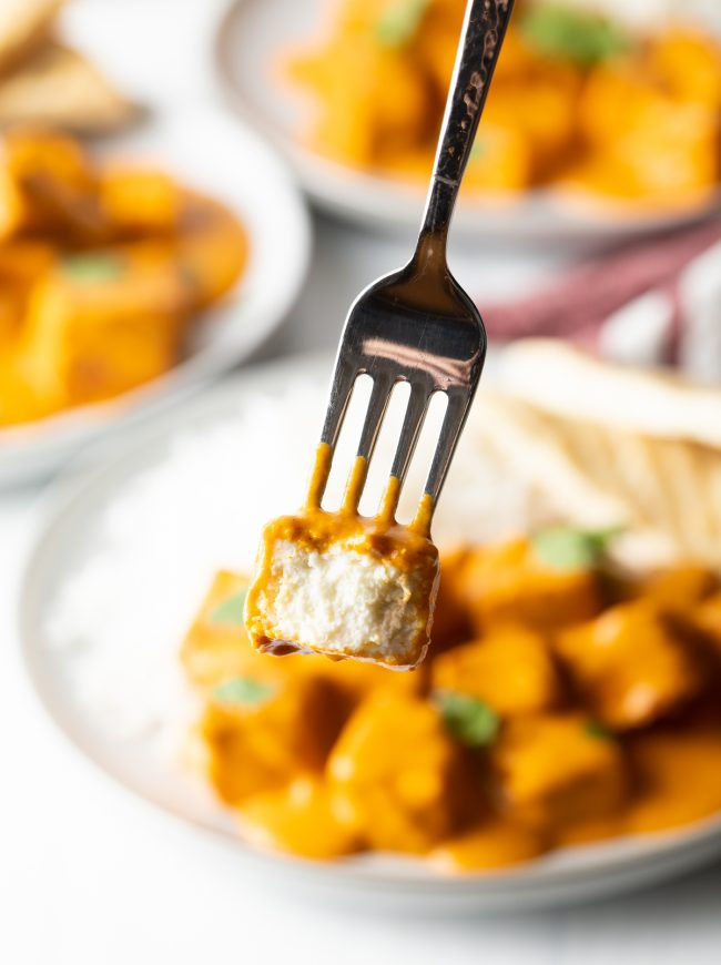 close up view of the fork with bite of paneer taken to show inner texture