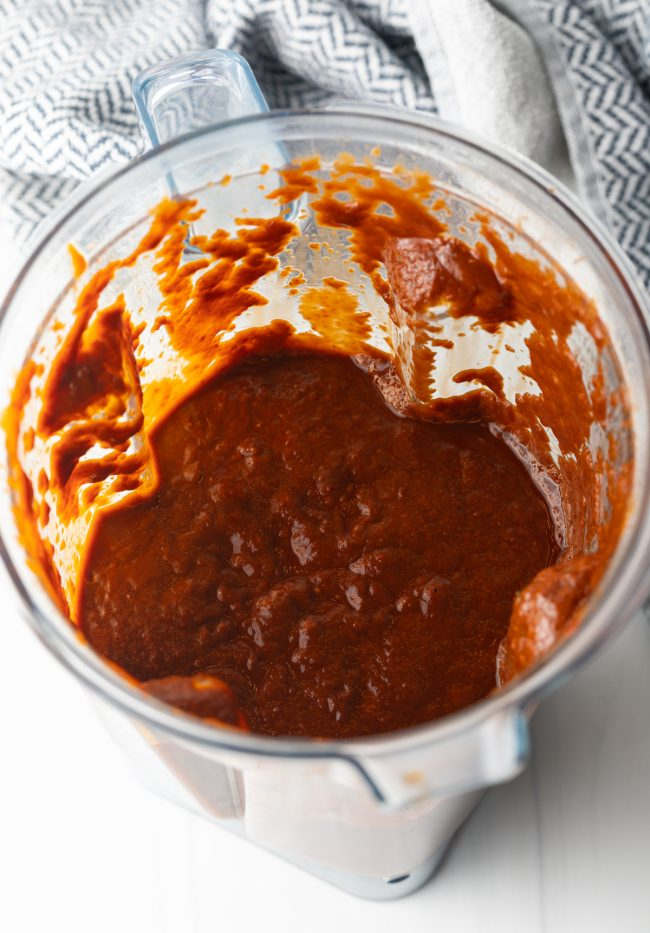 blender with red chile and raisin sauce