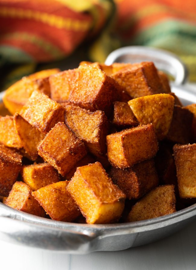 close view fried crunchy patatas bravas recipe