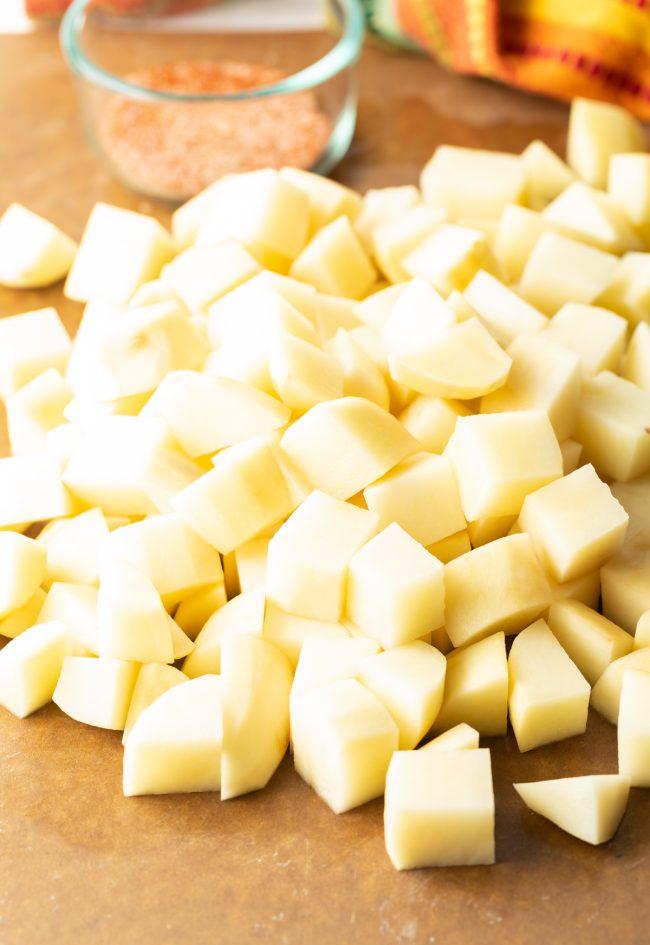 peeled and chopped potatoes