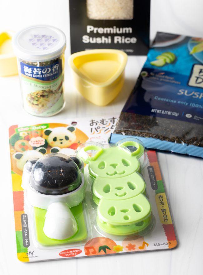 various panda molds, triangle mold, furikake seasoning