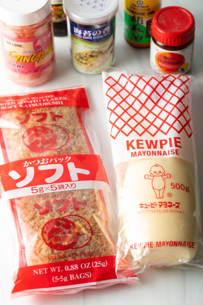benito flakes, kewpie mayo, ginger, and other ingredients