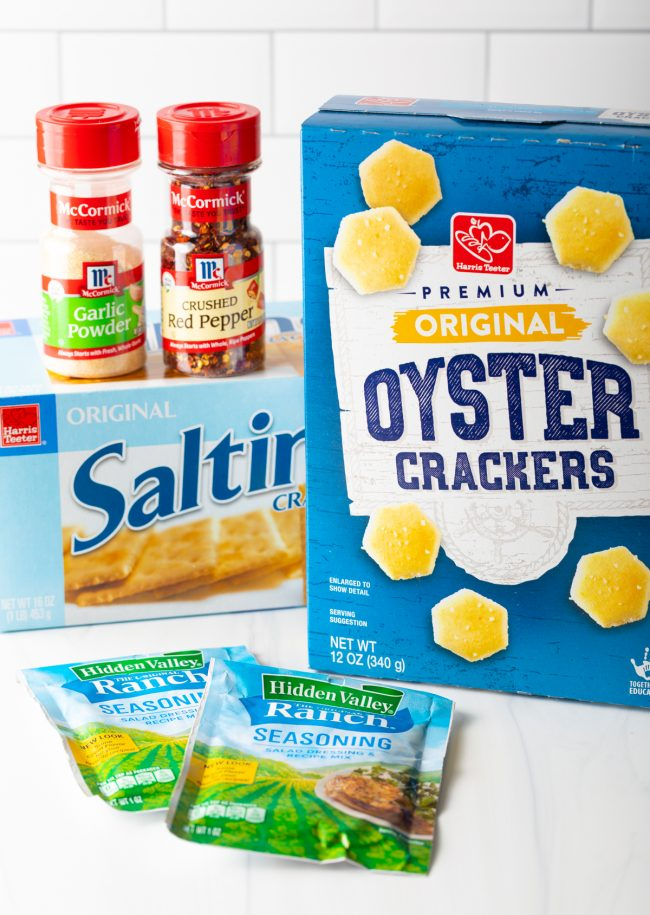 boxes of crackers with ranch dip packet and spices