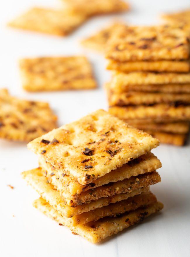 saltines baked with seasonings in stacks