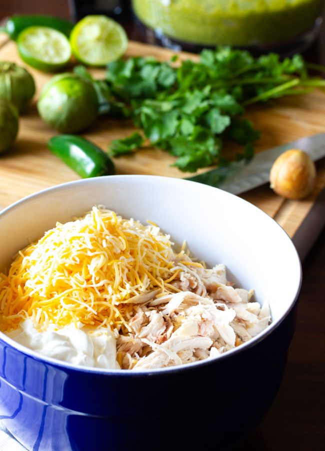 chicken enchilada filling in bowl