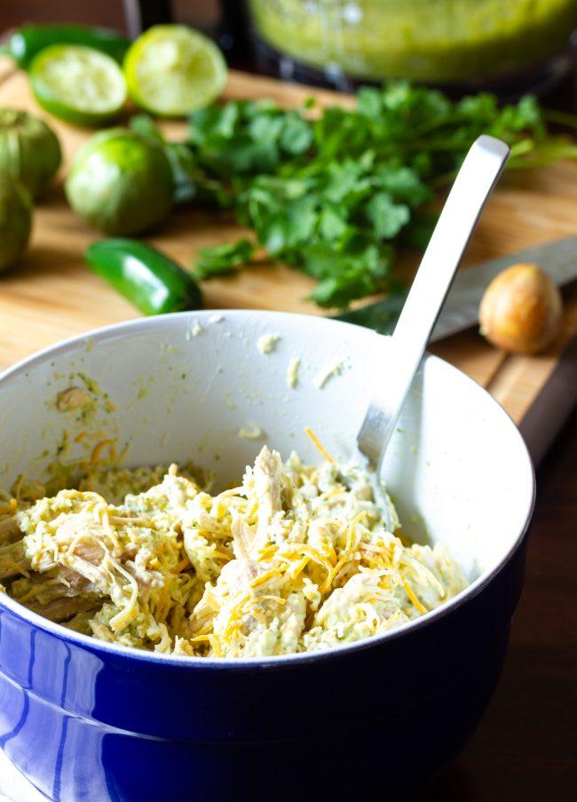 chicken enchilada recipe filling in bowl