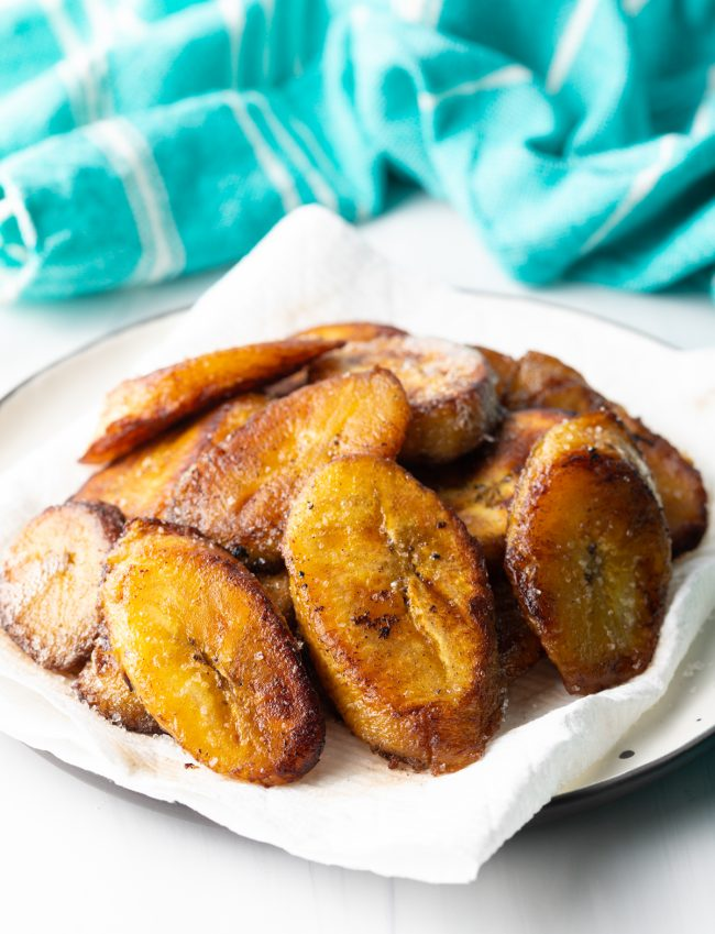 golden brown plantains on paper towels