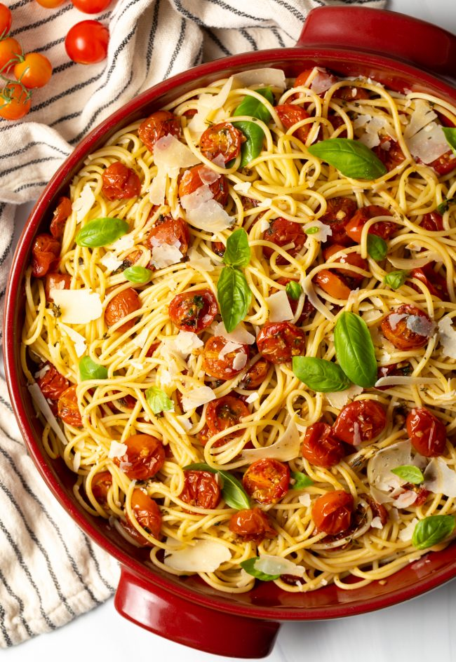 Oven roasted cherry tomatoes with balsamic vinegar is an easy recipe that's a delicious base to make rustic Italian dishes, like cherry tomato pasta sauce!
