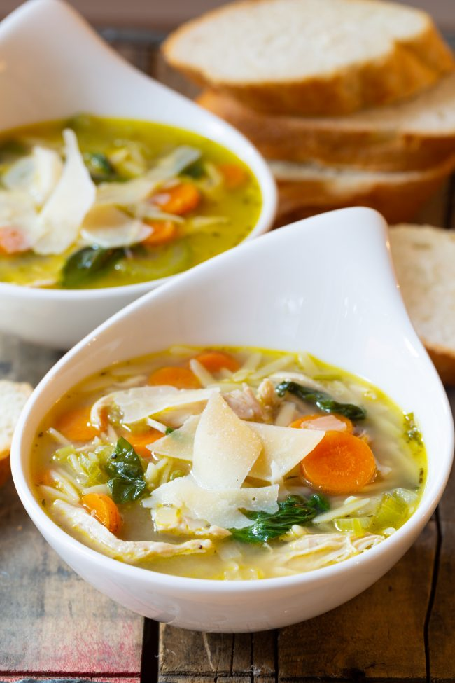 Chicken soup in two bowls