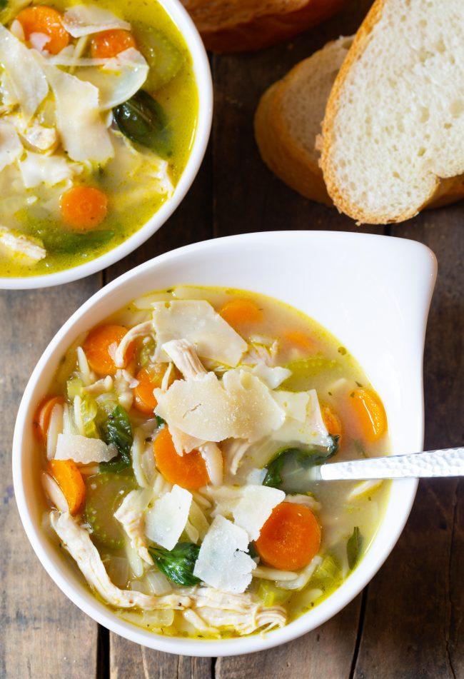 Italian chicken soup in bowls
